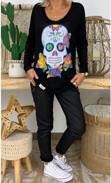 T-Shirt Mylan Noir Colorful Skull