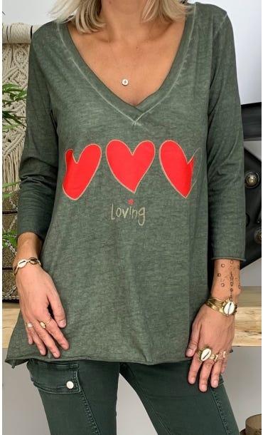 T-Shirt Elio ML Kaki Loving Corazon Rouge