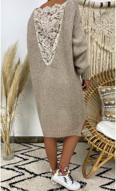 Petite Robe Pull Lisy Taupe