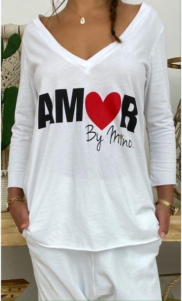 T-Shirt Elio ML Blanc Amor Rouge