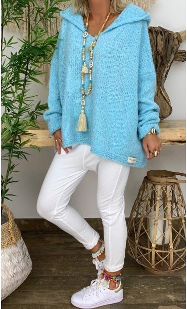 Pull Diego Oversize Bleu Turquoise