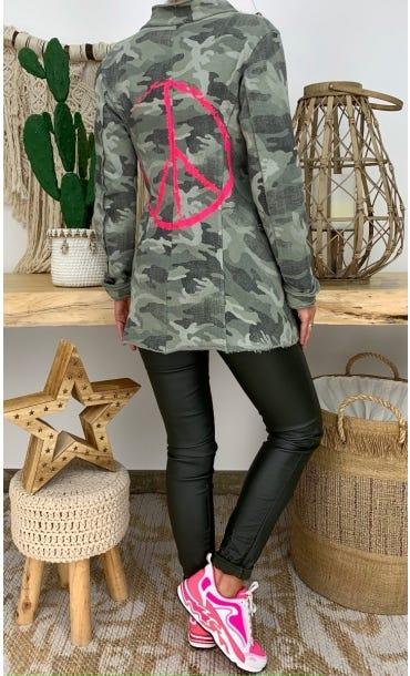 Veste Alice Sweat Kaki Camouflage Peace Rose Fluo