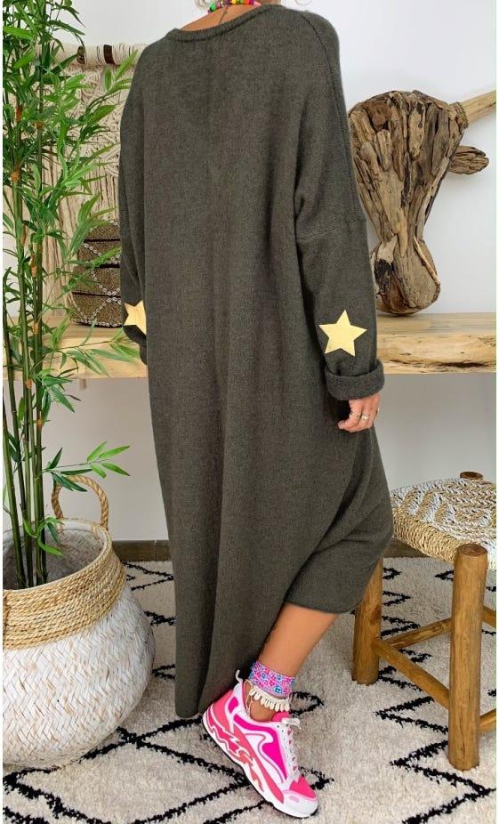 Robe Pull Marius Oversize Kaki Star Or