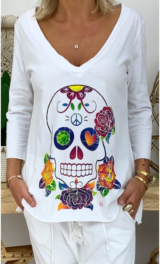 T-Shirt Elio ML Blanc Colorful Skull