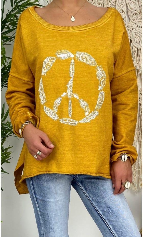 Sweat Matisse Jaune Safran Pluma Peace Blanc