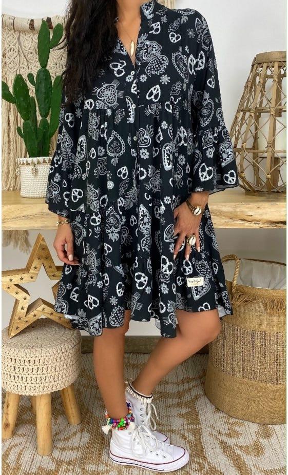 Petite Robe Yanna Noir Paradise Gris