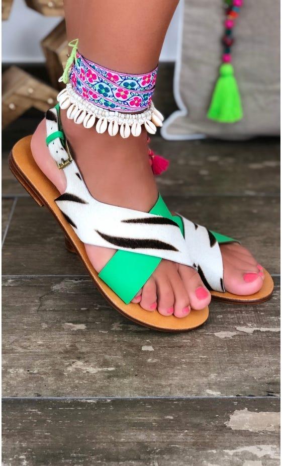 Sandales Lina Vert Zèbre Blanc