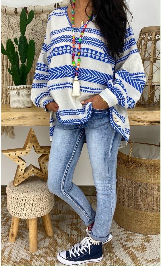 Tunique Nina Oversize Blanc Cassé Aztek Bleu Electrique