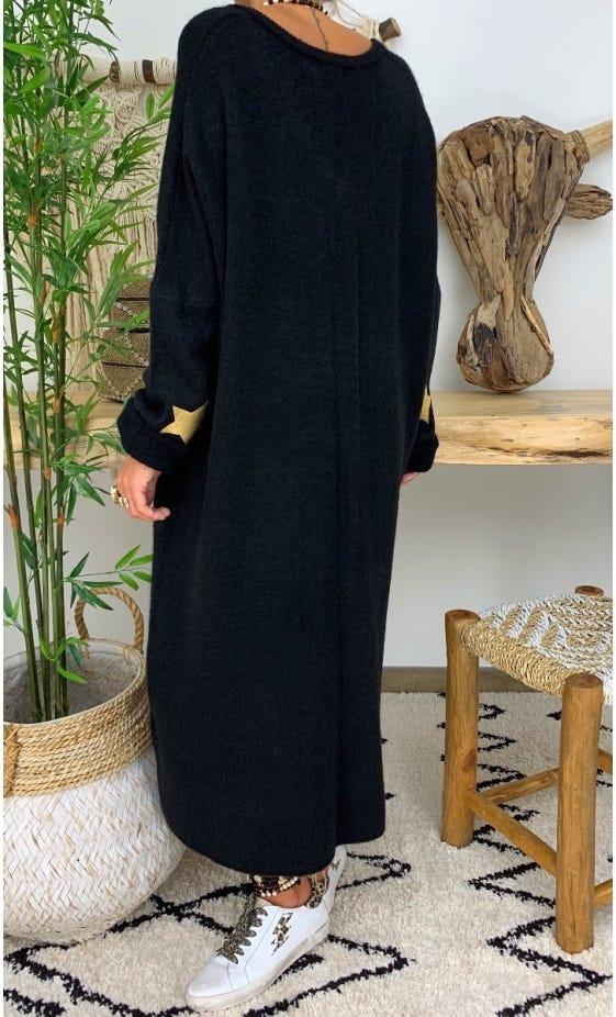 Robe Pull Marius Oversize Noir Star Or