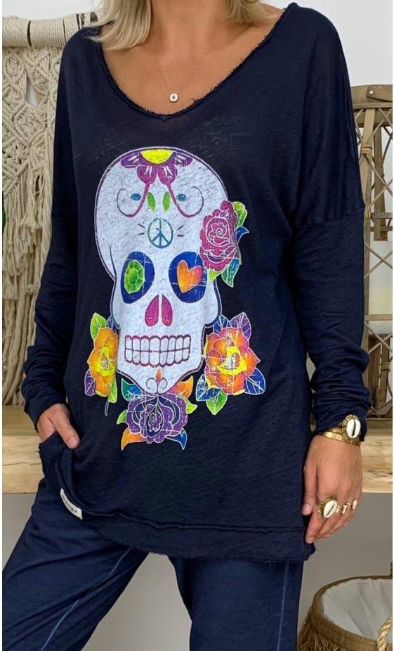 T-Shirt Mylan Bleu Marine Colorful Skull