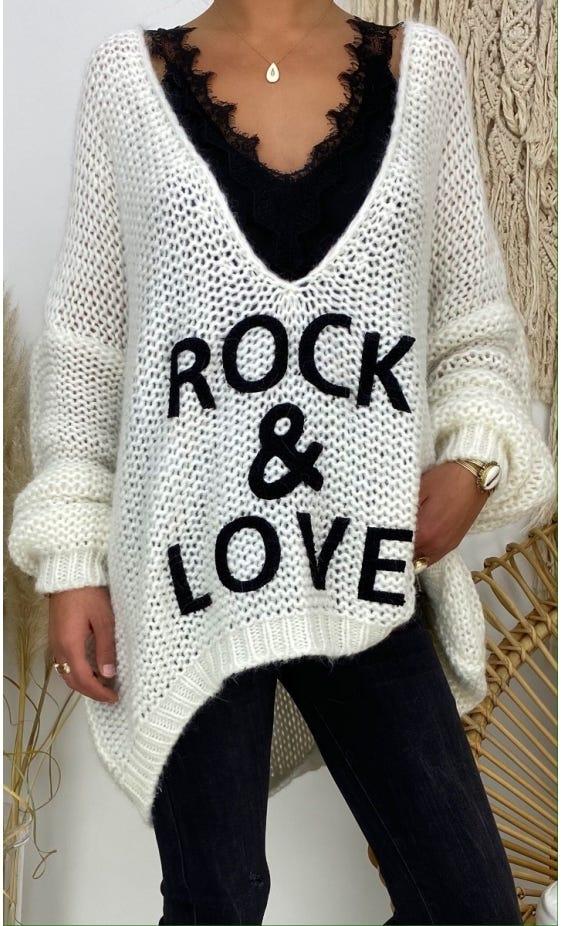 Pull Tony Oversize Blanc Cassé Rock & Love Noir