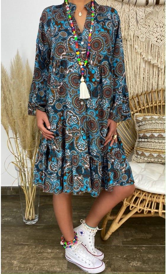 Petite Robe Yanna Bleu Turquoise Mandala