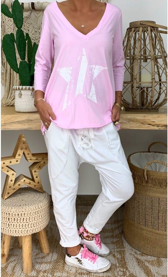 T-Shirt Elio ML Rose Clair Star Blanc