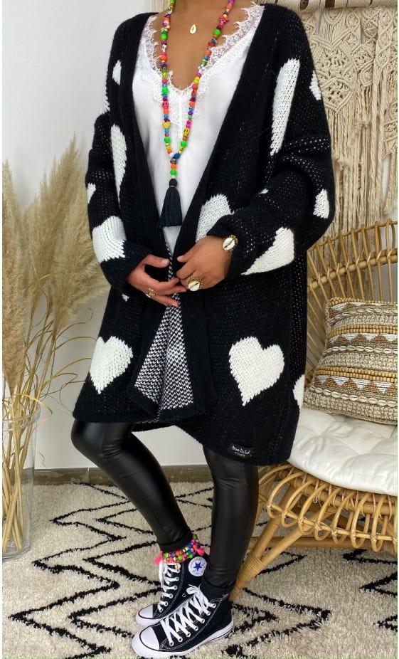 Gilet Noham Oversize Noir Heart Blanc