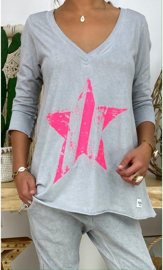 T-Shirt Elio ML Gris Clair Star Rose Fluo