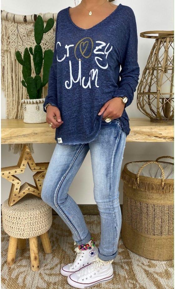 T-Shirt Mylan Bleu Marine Crazy Mum Blanc