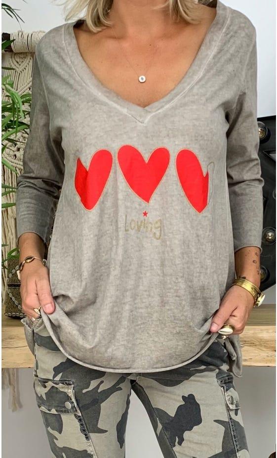 T-Shirt Elio ML Taupe Loving Corazon Rouge