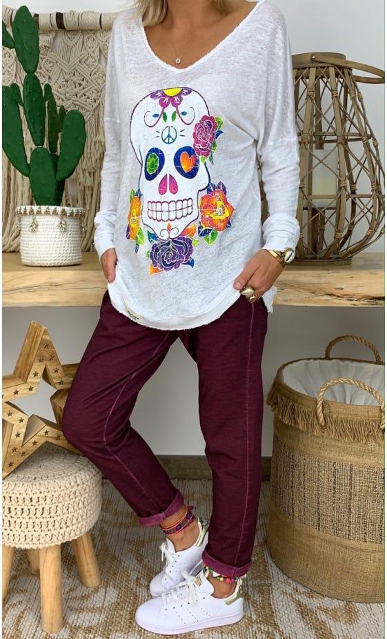 T-Shirt Mylan Blanc Colorful Skull