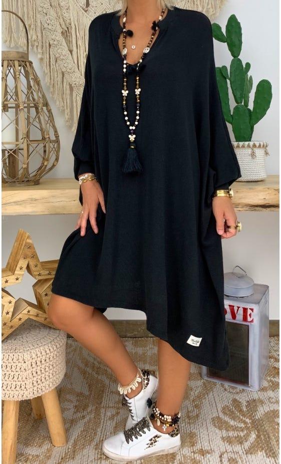 Petite Robe Pull Mateï Oversize Noir