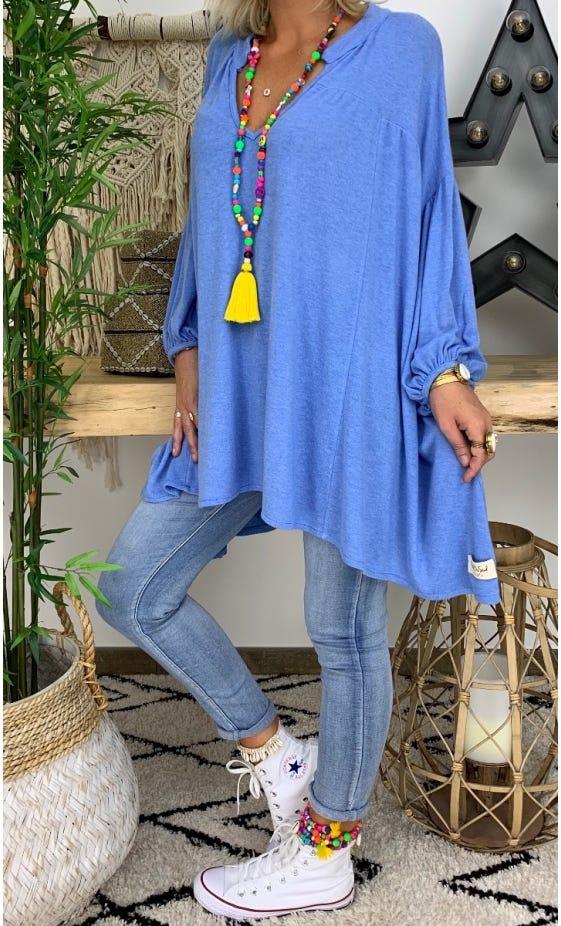 Tunique Faustine Oversize Maille Doudou Bleu Jean
