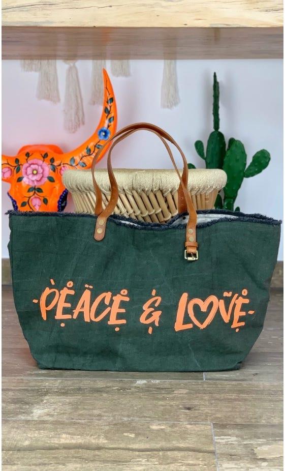 Cabas Penida Kaki Peace & Love Orange