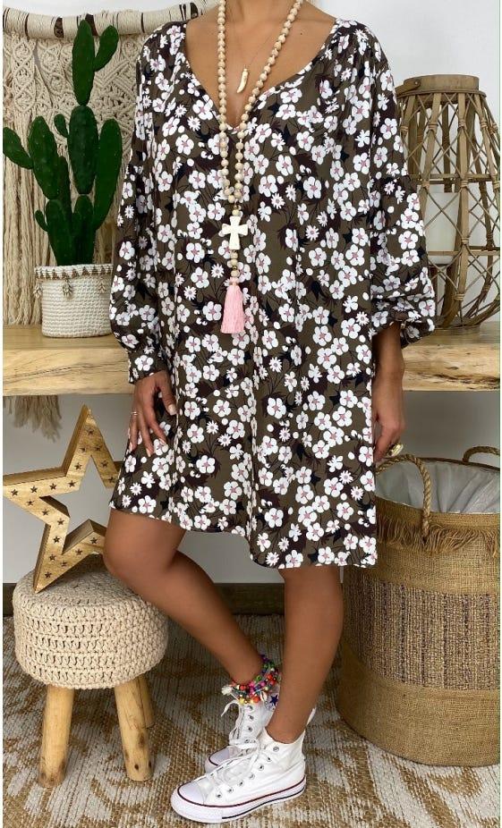 Petite Robe Nina Taupe Blossom