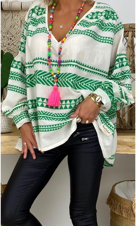 Tunique Nina Oversize Blanc Cassé Aztek Vert Brésil