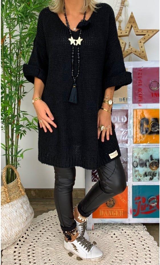 Petite Robe Pull Tayler Oversize Noir