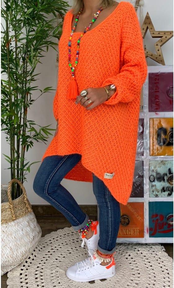Petite Robe Pull Joshua Oversize Orange Fluo