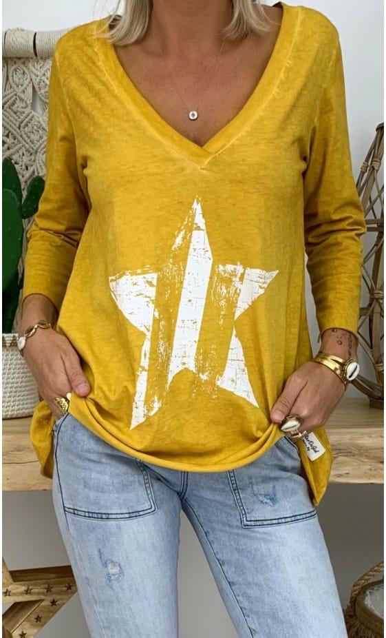 T-Shirt Elio ML Jaune Safran Star Blanc