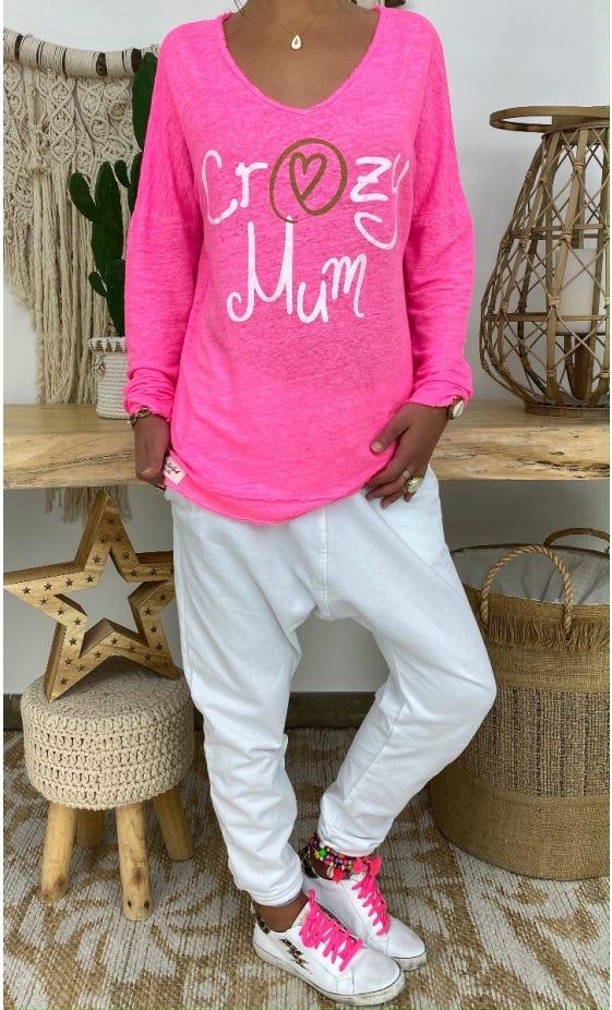 T-Shirt Mylan Rose Fluo Crazy Mum Blanc