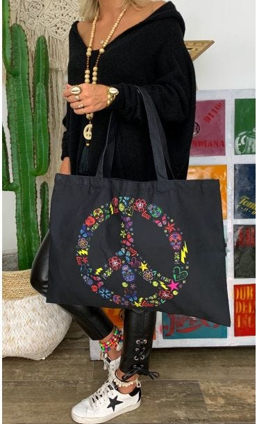 Sac Evan Noir Peace Rouge