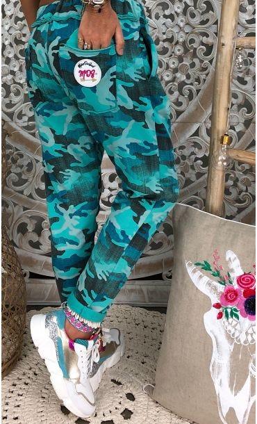 Jogg Joe Sweat Fin Bleu Turquoise Camouflage