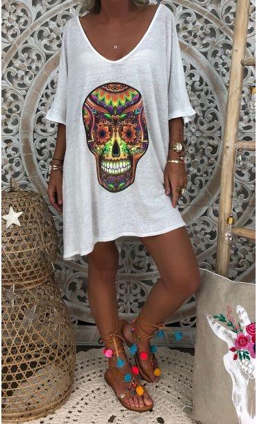 T-Shirt Oversize Gabin MC Lin Blanc Skull Multicolor