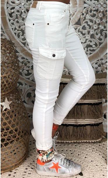 Pantalon Cargo Robin Blanc Cassé