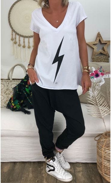 T-Shirt Elio MC Blanc Eclair Noir