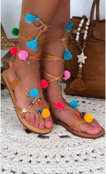 Sandales Nessa Camel Skull Pompons Multicolor
