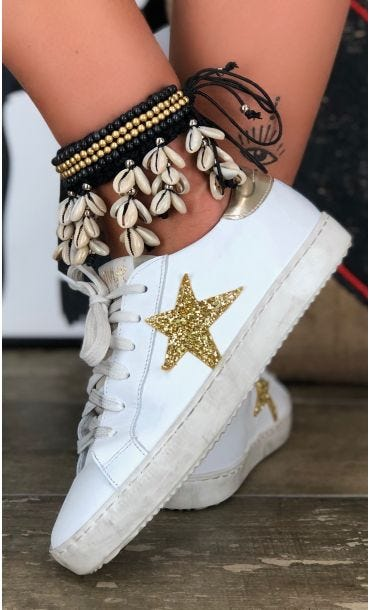 Baskets Mina Star Glitter Or
