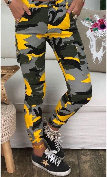 Pantalon Cargo Mike Jaune Camouflage