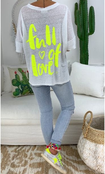 T-Shirt Soren MC Lin Blanc Full Of Love Jaune Fluo
