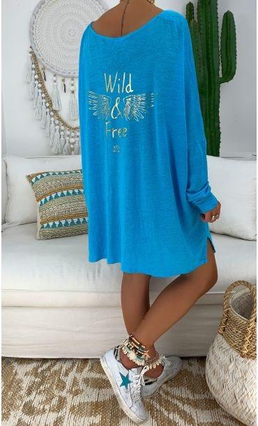 T-Shirt Oversize Gabin ML Bleu Turquoise Wild & Free