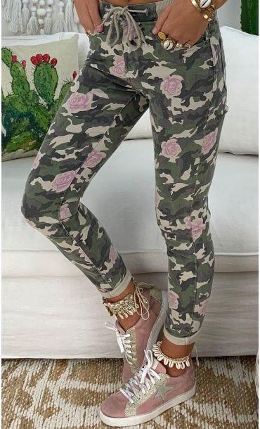 Pantalon Jogg Gaspar Kaki Camouflage Flowers