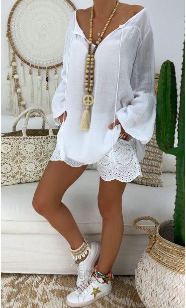 Tunique Noélie Voile De Coton Blanc