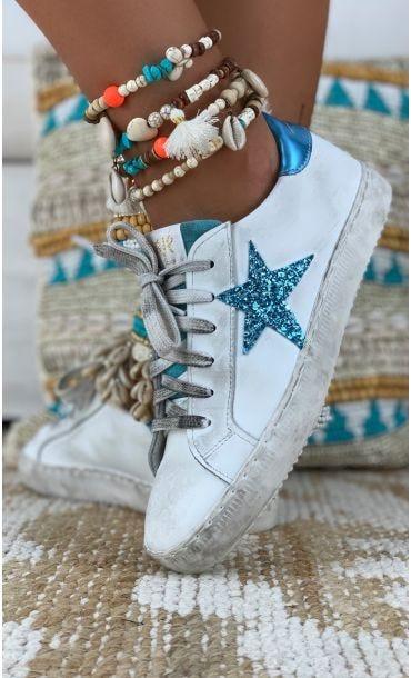 Basket Mina Star Glitter Bleu Turquoise