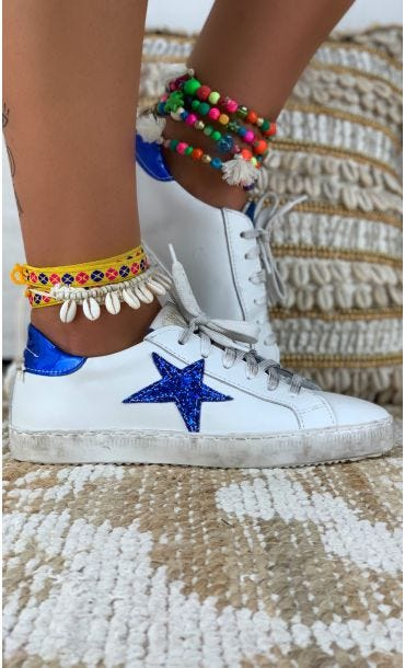 Baskets Mina Star Glitter Electric Blue