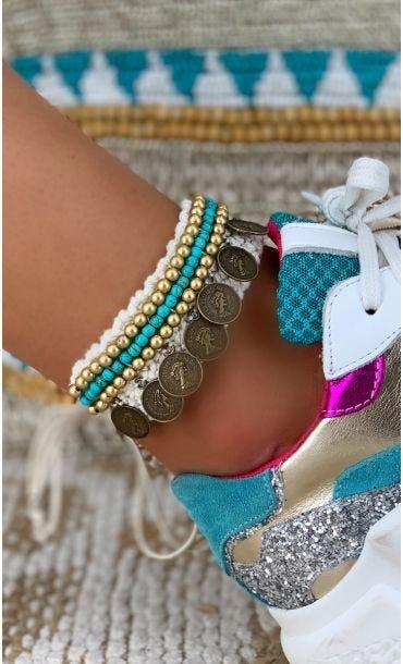 Bracelet De Cheville Hansa Bleu Turquoise