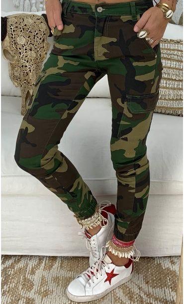 Pantalon Cargo Mike Kaki Camouflage