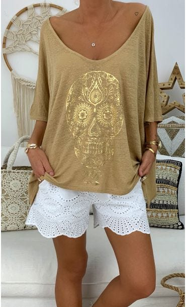 T-shirt Gabin MC Lin Camel Skull Or