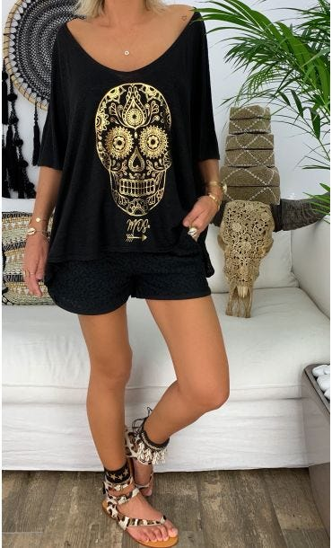 T-shirt Gabin MC Lin Noir Skull Or