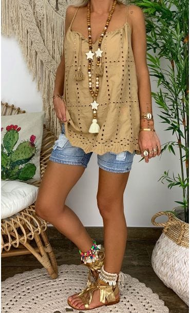 Tunique Tammy Broderie Camel